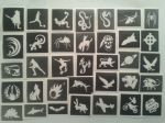 10 - 100 boys themed mini small stencils for glitter tattoos / airbrush / henna / cakes   Ideal for Fund raising, PTA - School & charity